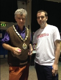 Marc meeting with the Mayor of Frome at a Time to Change event.